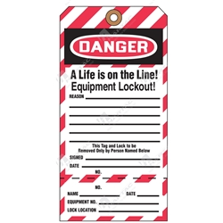 "(Key Tag) 2-Part Perforated Tag ""Danger A Life Is On The Line! Equipment Lockout"" (Pack of 25) - 80mm x 158mm"
