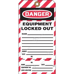 "(Key Tag) 2-Part Perforated Tag ""Danger Equipment Locked Out"" (Pack of 25) - 80mm x 158mm"
