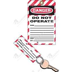 "(Key Tag) 2-Part Perforated Tag ""Danger Do Not Operate"" (Pack of 25) - 80mm x 158mm"
