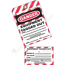 "2-Part Perforated Tag ""Danger Equipment Tagged Out"" (Pack of 25) - 80mm x 158mm"