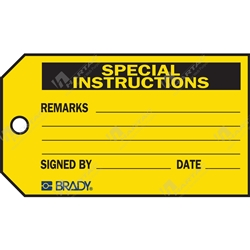 "Material Control Tag ""Special Instructions"" (Pack of 25) - 146mm x 76mm"