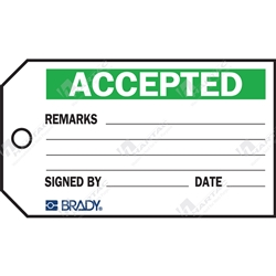 "Material Control Tag ""Accepted"" (Pack of 25) - 146mm x 76mm"