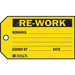 "Material Control Tag ""Re-Work"" (Pack of 25) - 146mm x 76mm"
