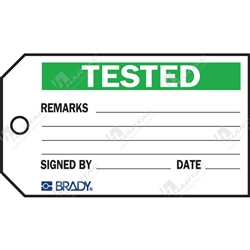 "Material Control Tag ""Tested"" (Pack of 25) - 146mm x 76mm"