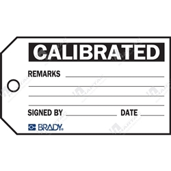 "Material Control Tag ""Calibrated"" (Pack of 25) - 146mm x 76mm"