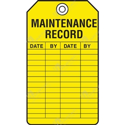 "Equipment Servicing Tag ""Maintenance Record"" (Pack of 5) - 85mm x 145mm"