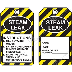 "Equipment Servicing Tag ""Steam Leak"" (Pack of 5) - 85mm x 145mm"