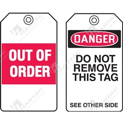 "Equipment Servicing Tag ""Out Of Order"" (Pack of 5) - 85mm x 145mm"