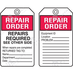 "Equipment Servicing Tag ""Repair Order"" (Pack of 5) - 85mm x 145mm"