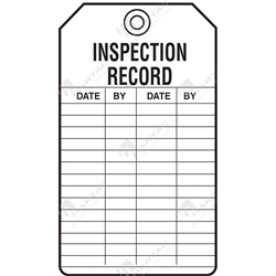 "Equipment Servicing Tag ""Inspection Record"" (Pack of 5) - 85mm x 145mm"