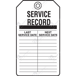 "Equipment Servicing Tag ""Service Record "" (Pack of 5) - 85mm x 145mm"