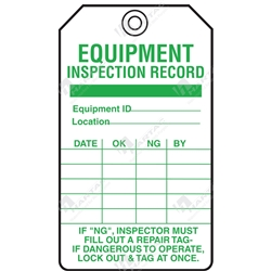 "Equipment Servicing Tag ""Equipment Inspection Record"" (Pack of 5) - 85mm x 145mm"