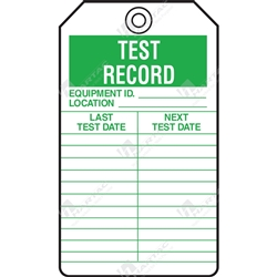"Equipment Servicing Tag ""Test Record"" (Pack of 5) - 85mm x 145mm"