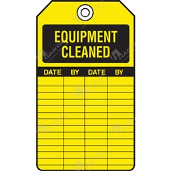 "Equipment Servicing Tag ""Equipment Cleaned"" (Pack of 5) - 85mm x 145mm"