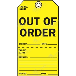 "2-Part Production Tag ""Out Of Order"" (Pack of 100) - 75mm x 100mm"