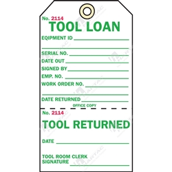"2-Part Production Tag ""Tool Loan"" (Pack of 100) - 75mm x 100mm"