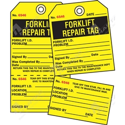 "2-Part Production Tag ""Forklift Repair"" (Pack of 100) - 75mm x 100mm"