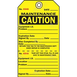 "2-Part Production Tag ""Caution Maintenance"" (Pack of 100) - 75mm x 100mm"