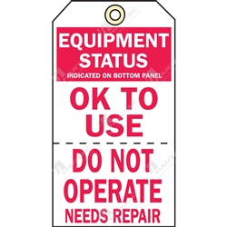 "2-Part Production Tag ""Equipment Status Ok To Use"" (Pack of 100) - 75mm x 100mm"