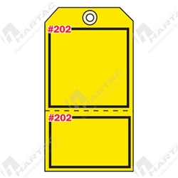 "2-Part Production Tag ""Yellow (Blank)"" (Pack of 100) - 75mm x 100mm"