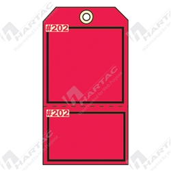 "2-Part Production Tag ""Red (Blank)"" (Pack of 100) - 75mm x 100mm"