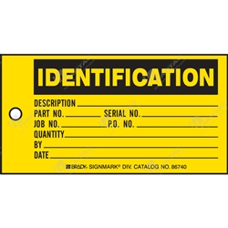 "Production Status Tag ""Identification"" (Pack of 100) - 146mm x 76mm"