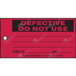 "Production Status Tag ""Defective Do Not Use "" (Pack of 100) - 146mm x 76mm"