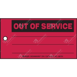 "Production Status Tag ""Out Of Service "" (Pack of 100) - 146mm x 76mm"
