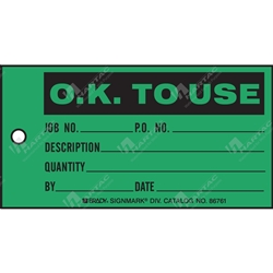 "Production Status Tag ""O.K. To Use "" (Pack of 100) - 146mm x 76mm"
