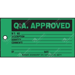 "Production Status Tag ""Q.A. Approved "" (Pack of 100) - 146mm x 76mm"