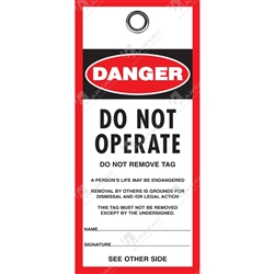 """Danger Do Not Operate"" Polyart Paper Tag (Pack of 100) - 80mm x 160mm"