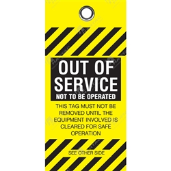 """Out of Service"" Polyart Paper Tag (Pack of 100) - 75mm x 160mm"