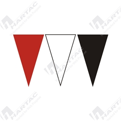 30m Roll Alternating Bunting Flags - Black, Red & White