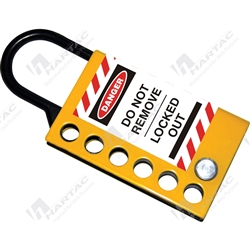 Slide Open Stainless Steel Hasp - Black/Yellow