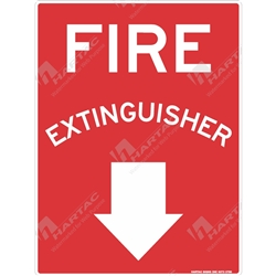"Fire & Safety Sign ""Fire Extinguisher With Down Arrow"""