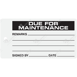 """Due for Maintenance"" Tag"