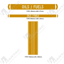 "Pipemarker ""Oil, Flammable & Combustible Liquids"" Self-Adhesive Non-Reflective (Pack of 10)"