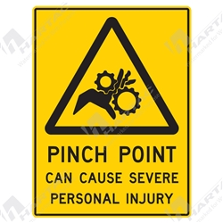"Warning Sign ""Pinch Point Can Cause Severe Personal Injury"""