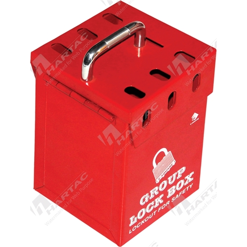 Group Lock Box - Red (Holds 7 Padlocks)