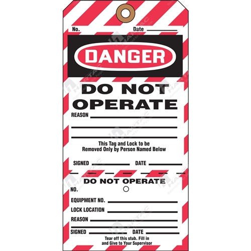 "2-Part Perforated Tag ""Danger Do Not Operate"" (Pack of 25) - 80mm x 158mm"