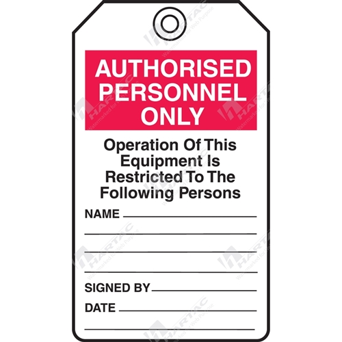 "Equipment Servicing Tag ""Authorised Personnel Only"" (Pack of 5) - 85mm x 145mm"
