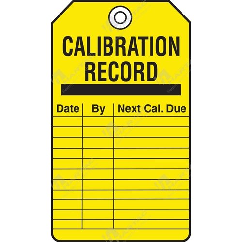 "Equipment Servicing Tag ""Calibration Record"" (Pack of 5) - 85mm x 145mm"