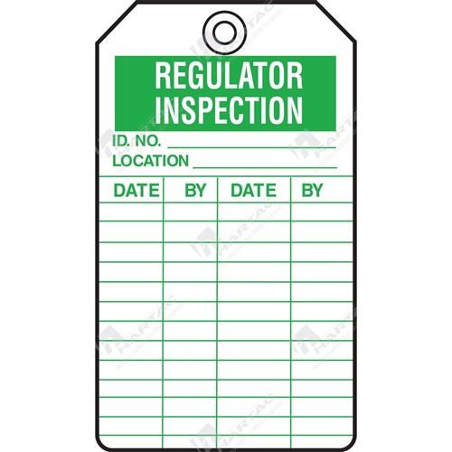 "Equipment Servicing Tag ""Regulator Inspection"" (Pack of 5) - 85mm x 145mm"