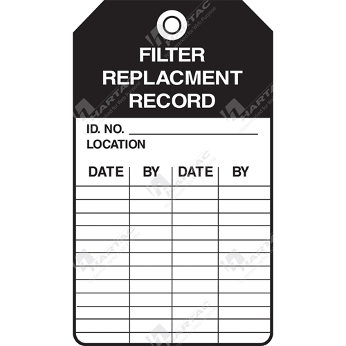 "Equipment Servicing Tag ""Filter Replacement Record"" (Pack of 5) - 85mm x 145mm"