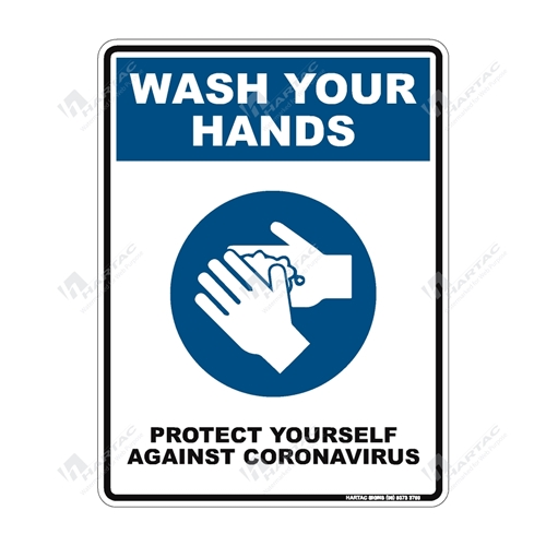 "Coronavirus (COVID-19) Health Warning ""Wash Your Hands Protect Yourself Against Coronavirus"" (Blue) Poly Non-Reflective - 225mm x 300mm"