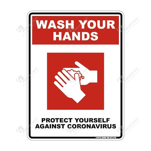 "Coronavirus (COVID-19) Health Warning ""Wash Your Hands Protect Yourself Against Coronavirus"" (Red) Poly Non-Reflective - 225mm x 300mm"