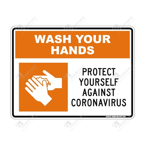 "Coronavirus (COVID-19) Health Warning ""Wash Your Hands Protect Yourself Against Coronavirus"" (Orange) Poly Non-Reflective - 300mm x 225mm"