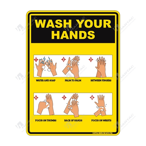 "Coronavirus (COVID-19) Health Warning ""Wash Your Hands With Hand Washing Instructions"" Poly Non-Reflective - 225mm x 300mm"