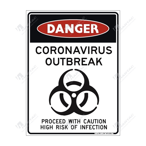"Coronavirus (COVID-19) Health Warning ""Danger Coronavirus Outbreak Proceed With Caution High Risk Of Infection"" Poly Non-Reflective - 225mm x 300mm"