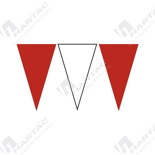 30m Roll Alternating Bunting Flags - Red & White